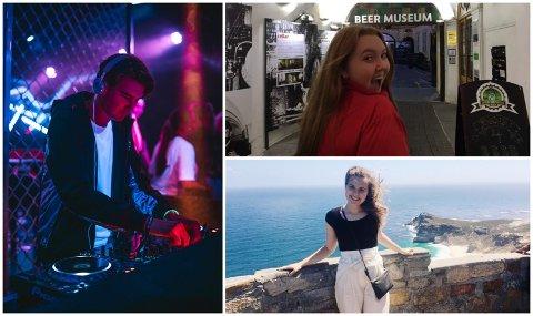 Oliander Taule (t.v) på jobb som DJ, Synne Syslak i Praha og Judith Børtveit i Cape Town.