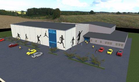 Slik vil den nye turnhallen bli plassert, like ved den eksisterende Mørkvedhallen.