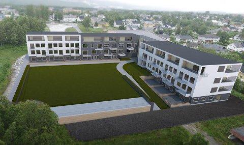 Slik ser Miris eiendom for seg at sentralskoletomta på Fauske kan bli seende ut - allerede om ett år. Skisse: Gnist Arkitekter