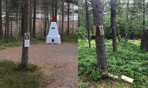 Bildet til venstre viser hvordan det så ut før vandalen kom.