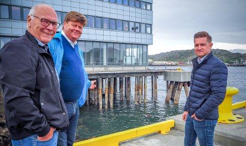 - Her bør det lages en flott bro. Kanskje i stål med lys på sidene og med en synlig tekst som sier «Welcome to Bodø», foreslår leder Morten Jakhelln i Hundholmen Byutvikling. Det er både eier Birger Dahl og administrerende direktør Richard Larsen i Dahl Fiskeri AS enige i.