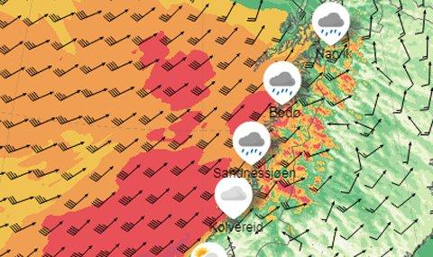 Radar over Nordland torsdag kveld.