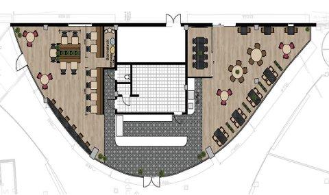 Slik ser plantegningen ut for lokalet, som skal huse det nye spisestedet inne på Amfi Fauske i første etasje.