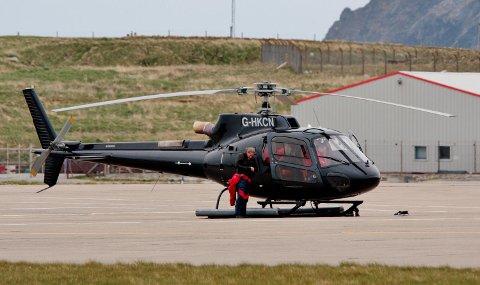 Ulykkeshelikopteret da det landet på Shetland før det kom til Bergen 10. mai.