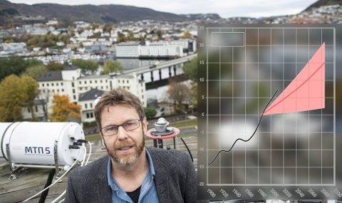 Professor Asgeir Sorteberg forsker på klimaendringer. Den rosa kurven viser hvordan klimamodeller ser for seg utviklingen i nedbør i Hordaland frem mot 2100, ved kontinuerlig vekst i klimagassutslipp. Den sorte kurven viser faktisk utvikling. Verdiene viser avvik (%) fra perioden 1971-2000.