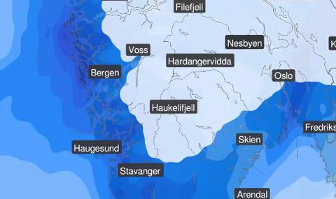Slik er været klokken 14 onsdag, ifølge meteorologene ved yr.no.