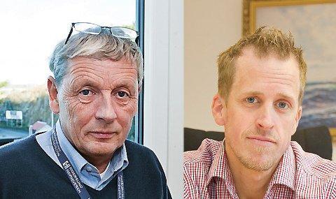 Havnefogd Knut Seglem (t. v.) og konstituert næringssjef Valentin Svelland har fram til nå hatt ansvar for henholdsvis forvaltning av havna og næringsutvikling i Egersund. Nå skal funksjonene samles i ett foretak.