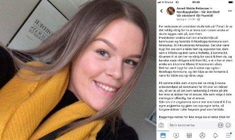 Ungdommer i Nordkapp er bekymret for all hetsingen som foregår på Facebook.- Det er trist å se at en Nordkappsaken har splittet samfunnet vårt sier Anneli Welde Pettersen (19)