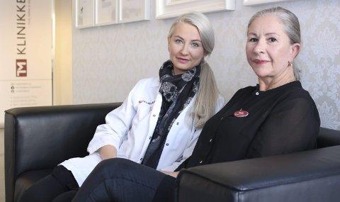 Positive: Denise Schweitzer (t.h.) og kollega Ine Møller Anwar gleder seg til å kunne tilby arrkamuflasje til opererte kvinner. Foto: Tiril Vik Nordeide