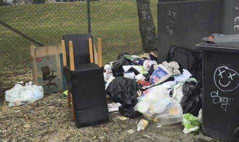Nabo Tommy Kjønigsen er lei av folk som kaster fra seg husholdningssøppel ved returpunktet på Lisleby.
