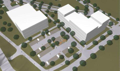 Tidligere har fylkeskommunen protestert mot planene om dette butikk- og kontorbygget rett ved Østsiden Storsenter. Det gjør de ikke nå lenger, viste det seg etter den siste høringsrunden.