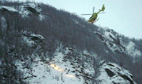 PÅ ØVELSE: Onsdag hadde ambulansehelikopteret øvelse i Narvik.