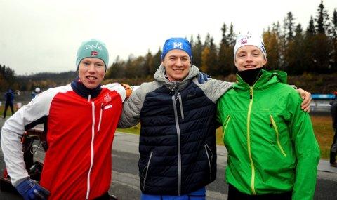Peder Stalenget, Jo Brøste Nørstegård og Kristoffer Sverdrup er tre av 12 utøvere i det nye skiskytterteamet som har base på Lillehammer.