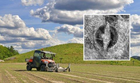 Skipsgraven ble funnet med georadar på Viksletta rett ved den monumentale Jellhaugen i Halden i Østfold.