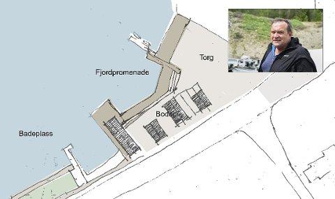 Eit arkitektfirma med kontor på Voss har laga eit skisseprosjekt for sentrum på oppdrag frå ein politisk komité i Eidfjord. Leiar for komiteen er Lars Kristian Eidnes.  Illustrasjon: HML arkitektur