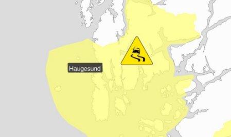 Det er meldt vanskelige kjøreforhold over hele Haugalandet.