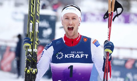 GELAND KRAFT: Espen Dahlhaug Bjørnstad ble norgesmester i kombinert søndag formiddag, og gikk med et startnummer som hadde sponsoren Geland kraft. Det skulle selvfølgelig være Helgeland Kraft.Foto: Terje Pedersen / NTB