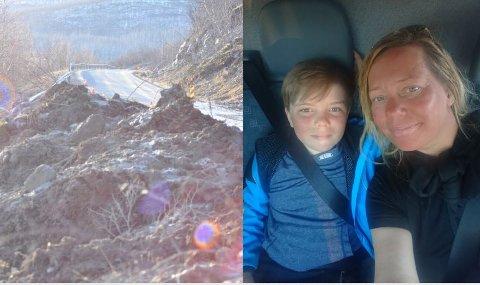 VAR HELDIGE: Ellen Kristina Saba var på tur fra Karasjok til Tana med sønnen Michel Isak da hun kom til rasstedet ved Roavvegieddi. Hun var heldig og slapp gjennom før veien ble stengt «etter henne».