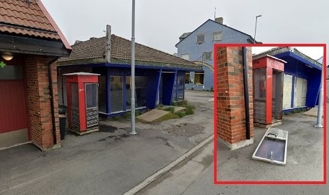 RUSTER: Den stadig mer slitene telefonkiosken i Vardø skaper fortvilelse blant entusiastene. Nå mangler den også en dør.