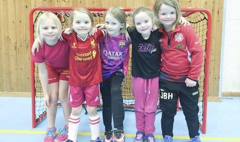 - BLI MED OSS OG SPILL FOTBALL: Mia Wold, Aurora Bronken, Elise Torre, Hermine Sneve Magnussen og Jenny Haukland trives med å spille fotball i BSF. Foto: Privat