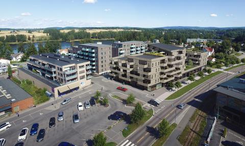 SENTRALT: Linjekvartalet 2 skal bygges i sentrum av Sørumsand og er bygget nærmest i bildet.