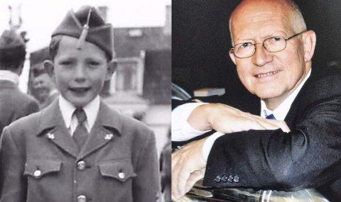 I KORPS DA OG NÅ: Da Holmestrand Brass deltok på nasjonaldagsarrangementer i år, var det 60. gang Per Arne Sæther var med i korps på 17. mai-spilling. Bildet til venstre er fra hans tredje korps-17. mai i 1956 i skolegården på Sentrum skole i Horten. FOTO. PRIVAT
