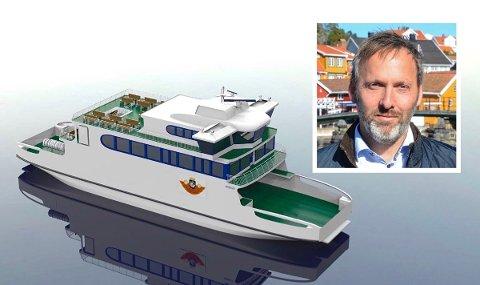 PÅ ØNSKELISTA: Slik ser The Norwegian Ship Design Company for seg at den potensielle ferja kan se ut. Designet er inspirert av storferja MF «Kragerø». Daglig leder Borgar Slørdal er positiv til sluttproduktet.