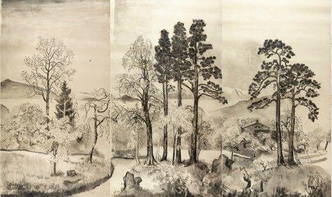 HAVEHUSET: Tusj på papir. Verket til Lul Krag er 275 x 454 cm.
