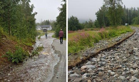REGN: Verken Vamrevegen (til venstre) eller Vidhåmmårvegen i Rollag kommune så ikke veldig bra ut etter regnet natt til onsdag.