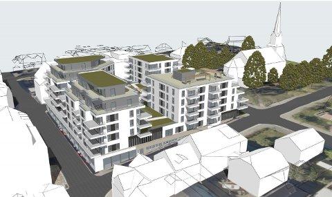 QUATTRO: Slik kan Nytorvet bli til om utbyggerne får i stand boligprosjektet Quattro. Tegning: MAKE arkitekter AS