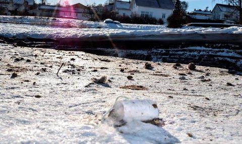 UTSLIPP: Restene etter kloakkutslippet ligger igjen på isen langs bekken nedenfor bebyggelsen i Kappvika.