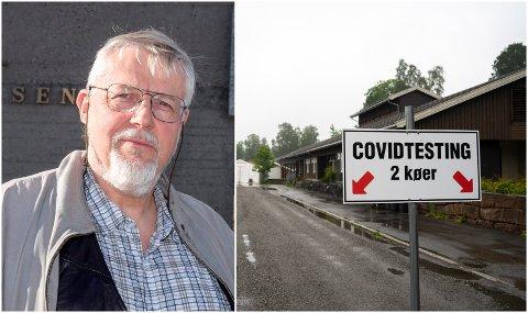 BER FOLK TESTE SEG: Kommuneoverlege Jens A. Mørch. Til høyre er teststasjonen på Skreia, som illustrasjon.
