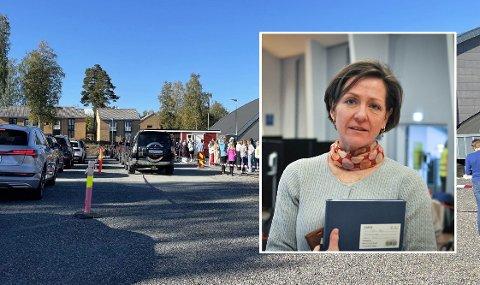 MANGE TESTER: Tirsdag måtte over dobbelt så mange teste seg i forhold til hva som er vanlig ved testasjonen, det opplyser kommuneoverlege Siri Fuglem Berg.