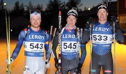 PREGET TOPPLISTENE: Petter Austberg Bjørn, til venstre, Vegard Gjermundshaug Bjørn og Tore Leren, til høyre, satte sitt preg på kveldsrennet i fellesstart i Stormoegga.