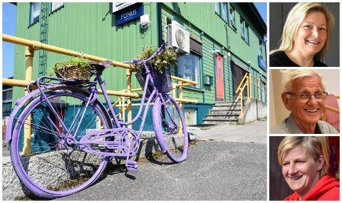 BEGEISTRET: – Fargene gjør deg bare glad, sier Sussan Nysveen (øverst). Også Nils Thore Vasaasen og Ingvill Sveen liker det de ser i Løten sentrum.