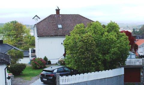 ELDSTE SKOLEN: Historiske undersøkelser har vist at bolighuset til Geir Sundberg og kona i Brochs gate 3 på Rådhusplassen på gamle Stathelle,  er den aller første skolebygningen på Stathelle. Skoleklokka er intakt på husveggen i andre etasje.
