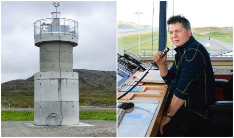 VETERAN: Vidar Karlstad har jobbet som Afis-fullmektig i tårnet på Mehamn lufthavn siden 1980. Han er ikke overbevist om at fjernstyrt tårntjeneste kan gjøre en like god jobb.