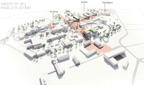 Vil bygge ut: Slik kan det bli seende ut på Kjeller og IFEs sitt område i løpet av et 20-årsperspektiv. Nye bygg til  høyre, mot riksvei 120, med både bygg for radiofarmasi og  forsknings-og laboatorier.                           BEGGE ILLUSTRASJONER: GRAPE ARKITEKTER