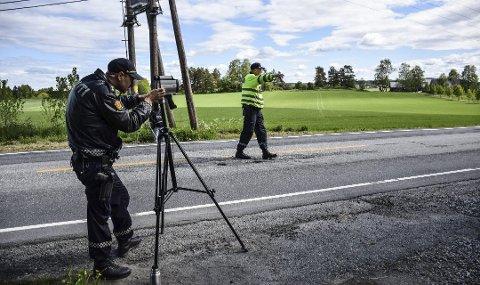 Laserkontrollen skjedde på fylkesvei 120 ved Ringvoll.