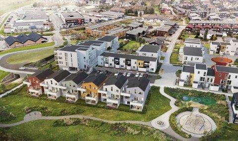 De seks eneboligene fremst i bildet og blokken til venstre bak Bunnpris med 16 leiligheter skal nå bygges.