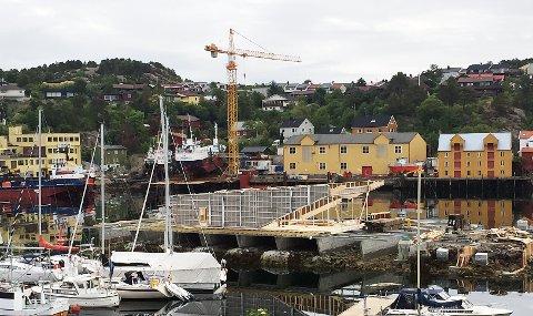 Onsdag morgen kunne vi tydelig se hvordan bygget vil ta seg ut inne i Vågen i Kristiansund.