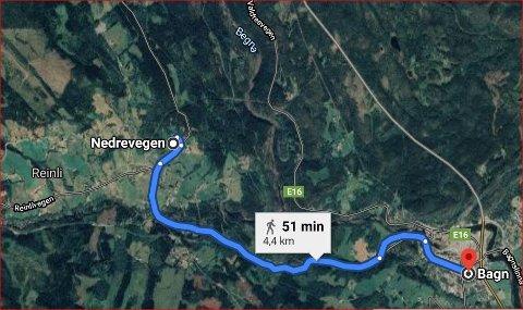 Kort veg til Bagn: Ifølgje Google maps er det 4,4 kilometer mellom Bagn sentrum og bustadfeltet i Høve, og det tek 51 minutt å gå, men berre åtte minutt med bil.