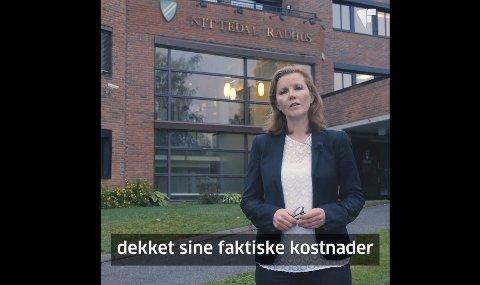 FRA VIDEOEN I SEPTEMBER: Anne Kristin Vie i videoen de la ut i september om byggesaksgebyrer. I videoen brukte de Nittedal kommune som eksempel.