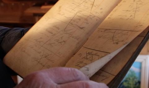 HISTORISK MATERIALE: En gammel regnskapsbok og 10 protokoller fra 1918 til 1993 for Fjotland ungdomslag blir tatt vare på.