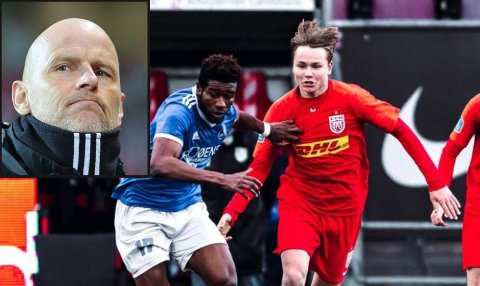 Norges landsalgssjef Ståle Solbakken lå - som FC København-sjef - langflat etter bodøgutten Andreas Schjelderup (16).