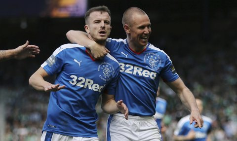 Britain Football Soccer - Rangers v Hibernian - William Hill Scottish Cup Final - Hampden Park, Glasgow, Scotland - 21/5/16 Andy Halliday celebrates with Kenny Miller after scoring the second goal for Rangers Reuters / Russell Cheyne Livepic EDITORIAL USE ONLY.