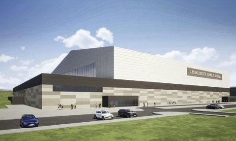 Fotballhallen skal ned i terrenget, og vil få 34 meter under taket på det høyeste. Illustrasjon: Hugaas
