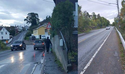 UTFORDRER BRAKAR: «Dette trange og trafikkfarlige partiet ved krysset Oscar Kiærs vei / Svelvikveien må små og store passere for å ta bussen. Brakar sitter med den enkle nøkkelen til å løse problemet.»