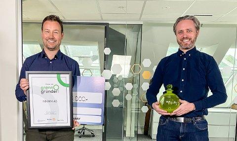 VINNER: Firmaet Nnnn AS vant årets Grønn gründer-pris, med Torkel Mellingen (til venstre) og Rune Skramstad.
