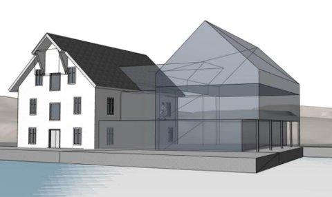 TO BLIR EITT: Eit nytt leilegheitsbygg kan sjå dagens lys i Kalvåg, vegg i vegg med Frøyenhuset. Her ser du Frøyenhuset med nybygget skissa inn, sett frå søraust.